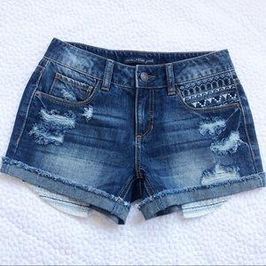 Embroidery Blue Denim Short